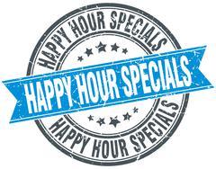 happy hour specials blue round grunge vintage ribbon stamp - stock illustration