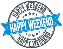 happy weekend blue round grunge vintage ribbon stamp - stock illustration