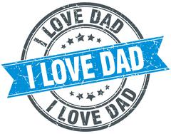 i love dad blue round grunge vintage ribbon stamp - stock illustration