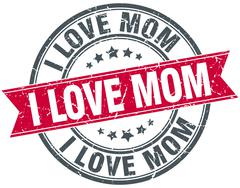 i love mom red round grunge vintage ribbon stamp - stock illustration
