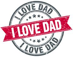 i love dad red round grunge vintage ribbon stamp - stock illustration