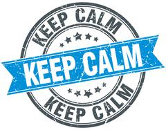 Stock Illustration of keep calm blue round grunge vintage ribbon stamp