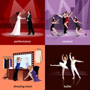Stock Illustration of Set Of 2x2 Theater Images