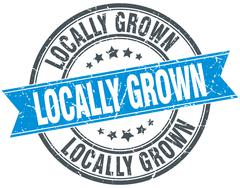 locally grown blue round grunge vintage ribbon stamp - stock illustration