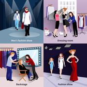 Fashion model catwalk set - stock illustration