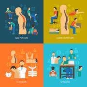 Stock Illustration of Posture 2x2 Design Concept Set