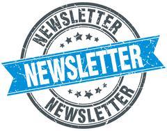 newsletter blue round grunge vintage ribbon stamp - stock illustration