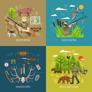 Hunting 2x2 Design Concept Set Stock Illustration