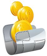 Guarded steel folder with money - stock illustration