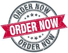 order now red round grunge vintage ribbon stamp - stock illustration