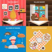 Bakery concept set - stock illustration