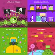 Microbiology concept set Stock Illustration