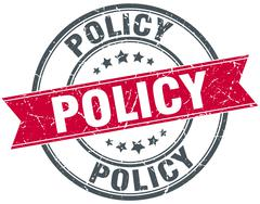 policy red round grunge vintage ribbon stamp - stock illustration