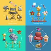 Cinema concept set Stock Illustration