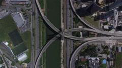 Top View of Estaiada Bridge in Sao Paulo, Brazil Stock Footage