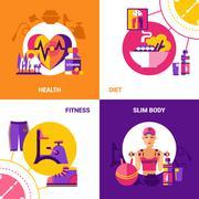 Fitness 2x2 Design Concept Set - stock illustration
