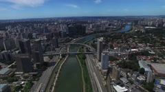 Aerial View of Marginal Pinheiros in Sao Paulo, Brazil - stock footage