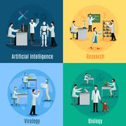 Scientists 2x2 Design Concept Set Stock Illustration