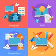 Set Of Flat Square Design Concept Icons Stock Illustration