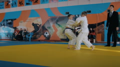 Children in competition Judo Stock Footage