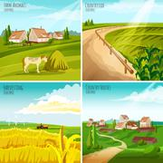 Countryside 4 Flat Pictograms Square Composition Stock Illustration