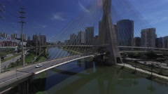 Aerial View of Estaiada Bridge and Skyscrapers in Sao Paulo, Brazil Stock Footage