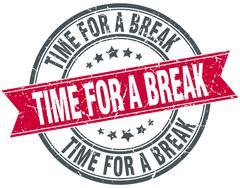 Stock Illustration of time for a break red round grunge vintage ribbon stamp