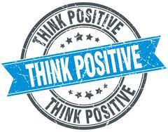 Think positive blue round grunge vintage ribbon stamp Stock Illustration