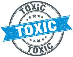 Stock Illustration of toxic blue round grunge vintage ribbon stamp