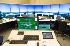 Air traffic monitor and radar in the controll center room of Bulgarian Air Tr Stock Photos
