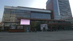 Walking near the BBI Centar shopping mall in Trg djece Sarajeva, Sarajevo Stock Footage