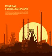 Mineral fertilizers plant at sunset Stock Illustration