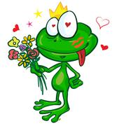 frog cartoon with  flowers - stock illustration