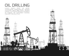 Drilling rigs and oil pumps isolated on white - stock illustration