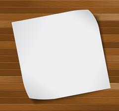 Paper sheet over wooden background. Stock Illustration