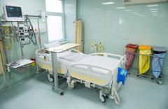 Post surgery clinic for patients, with medical beds, respiratory support syst - stock photo