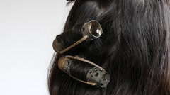 Rollers for hair styling Stock Footage