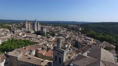 Uzes south french city with drone 3 Stock Footage