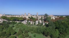 Uzes south french city with drone 1 - stock footage