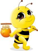 beautiful bee - stock illustration