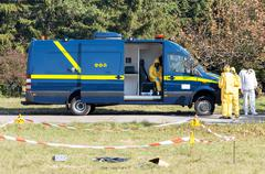 First response emergency vehicle with mobile lab /laboratory/ next to dangero Stock Photos