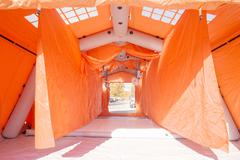 Decontamination mobile tent from inside for emergency response and disinfecti - stock photo