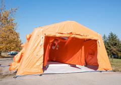 Decontamination mobile tent from inside for emergency response and disinfecti Stock Photos