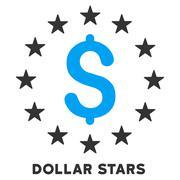 Dollar Stars Vector Icon With Caption - stock illustration