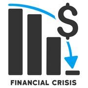 Financial Crisis Vector Icon With Caption - stock illustration