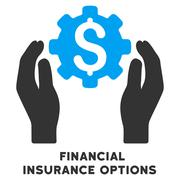 Financial Insurance Options Vector Icon With Caption Stock Illustration