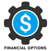 Financial Options Vector Icon With Caption Stock Illustration