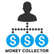 Money Collector Vector Icon With Caption Stock Illustration