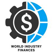 World Industry Finances Vector Icon With Caption - stock illustration
