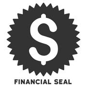 Financial Seal Vector Icon With Caption Stock Illustration